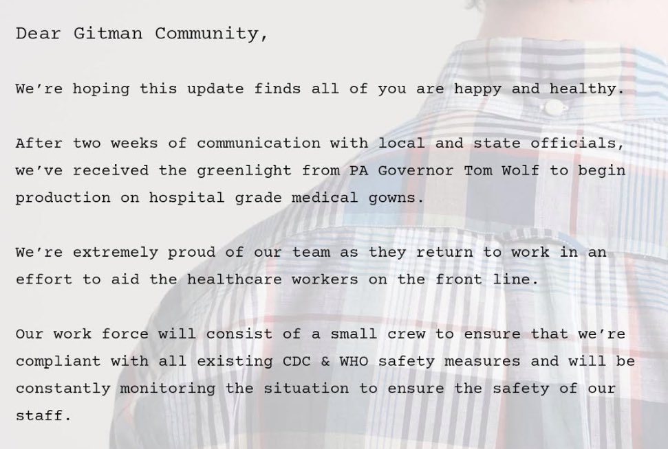 Gitman Vintage's Instagram post announcing its work to produce medical gowns.